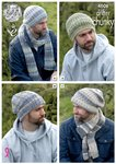 King Cole 4608 Knitting Pattern Mens Hats and Scarves in King Cole Drifter Chunky