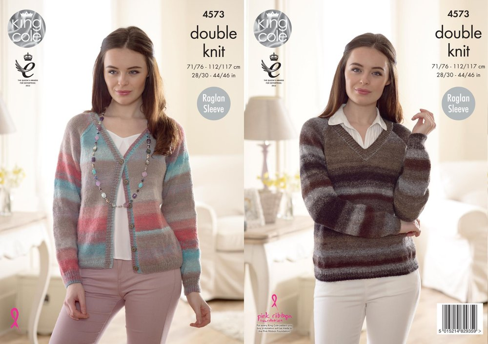 7dad1ab99 King Cole 4573 Knitting Pattern Womens Easy Knit Sweater and Cardigan in King  Cole Sprite DK - Athenbys