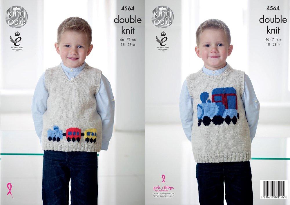 6fc36843b King Cole 4564 Knitting Pattern Childrens Train Tank Tops in King ...