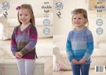 King Cole 4577 Knitting Pattern Girls Easy Knit Raglan Sweaters in King Cole Sprite DK