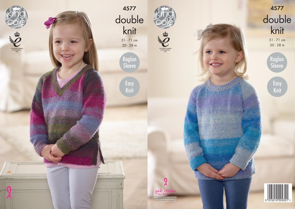 4ae878be0 King Cole 4577 Knitting Pattern Girls Easy Knit Raglan Sweaters in King  Cole Sprite DK - Athenbys