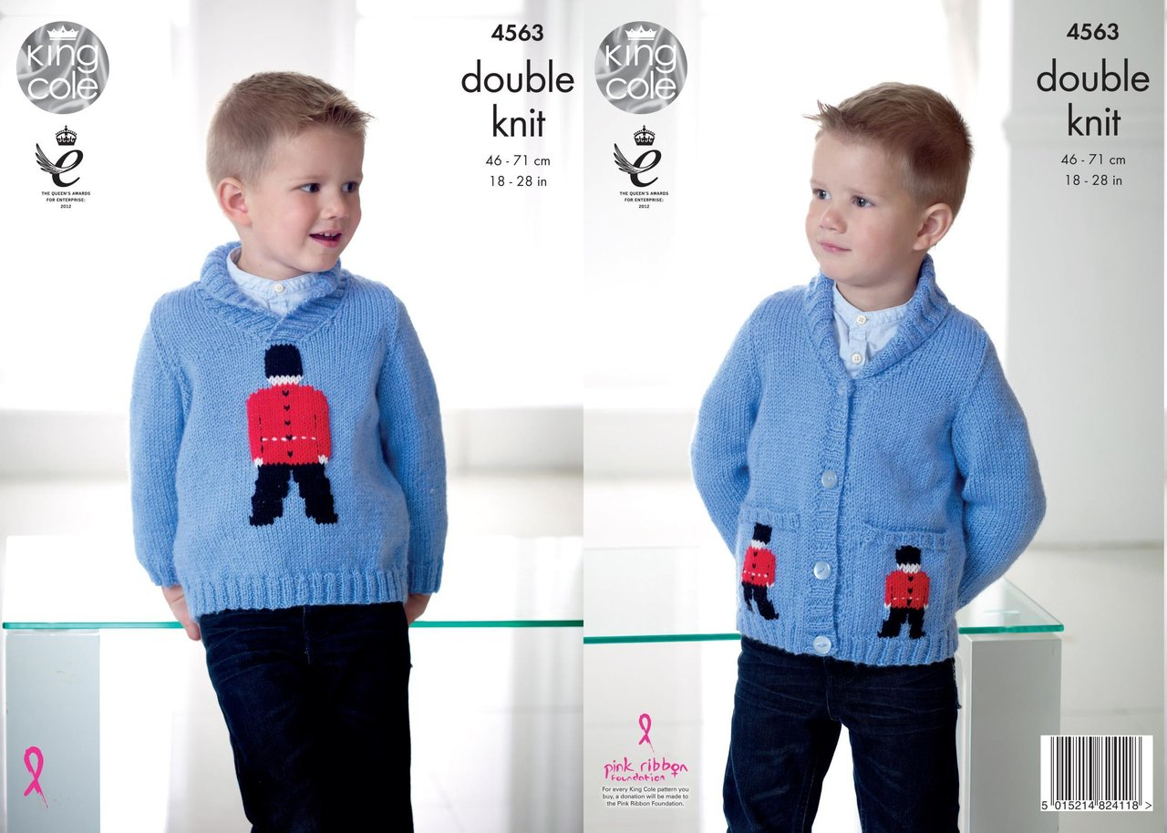 King Cole 4563 Knitting Pattern Boys Childrens Soldier Sweater and ...
