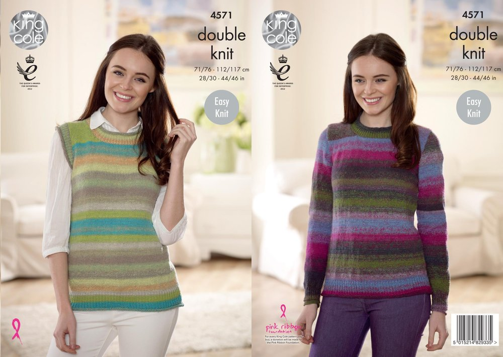 bd52f2467 King Cole 4571 Knitting Pattern Womens Sweater and Slipover in King Cole  Sprite DK - Athenbys