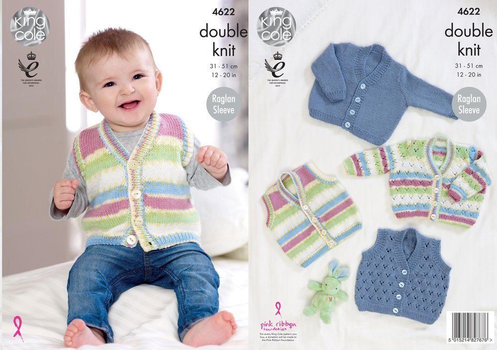 b688c4847122 King Cole 4622 Knitting Pattern Baby Cardigans and Waistcoat in ...
