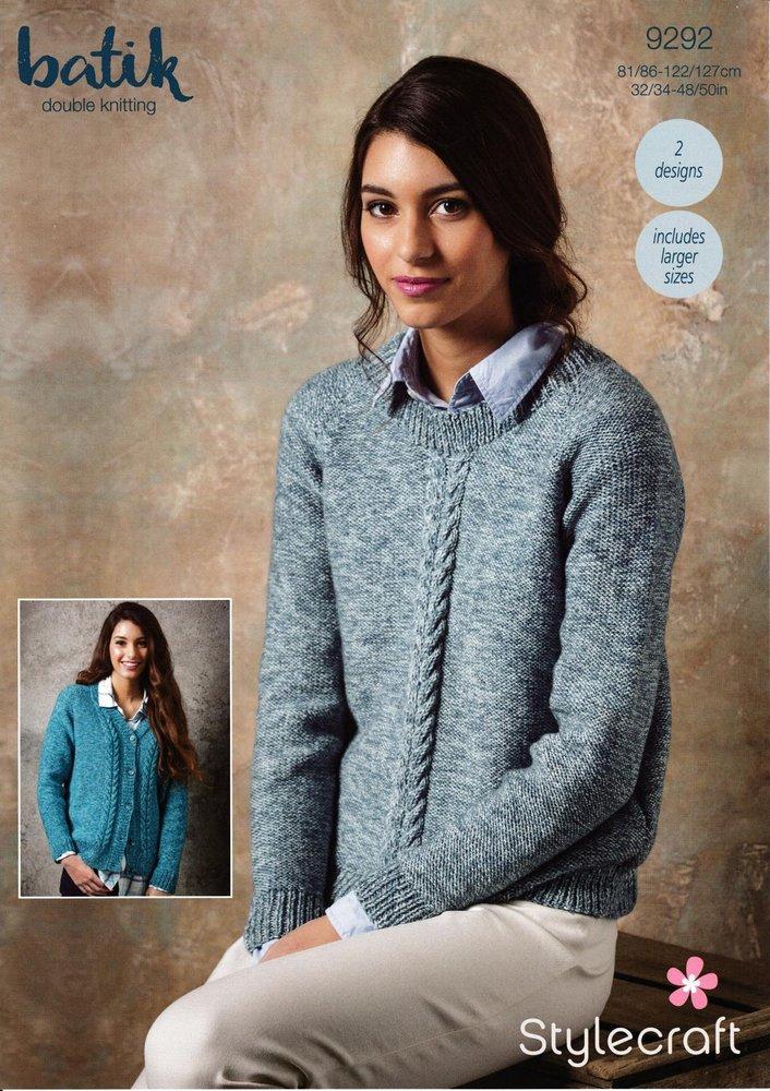 9a0cfd6197b823 Stylecraft 9292 Knitting Pattern Womens Sweater and Cardigan in Stylecraft  Batik DK - Athenbys