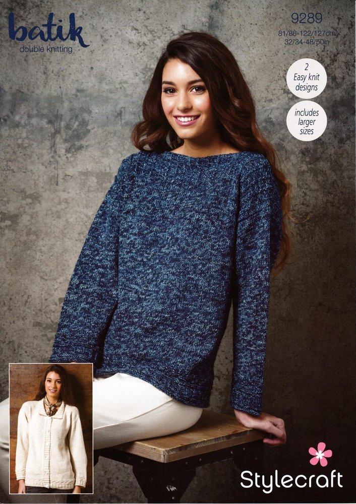 5bedd9384112 Stylecraft 9289 Knitting Pattern Womens Easy Knit Sweater and Cardigan in  Stylecraft Batik DK - Athenbys