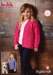 Stylecraft 9297 Knitting Pattern Girls Easy Knit Sweater and Cardigan in Stylecraft Batik DK