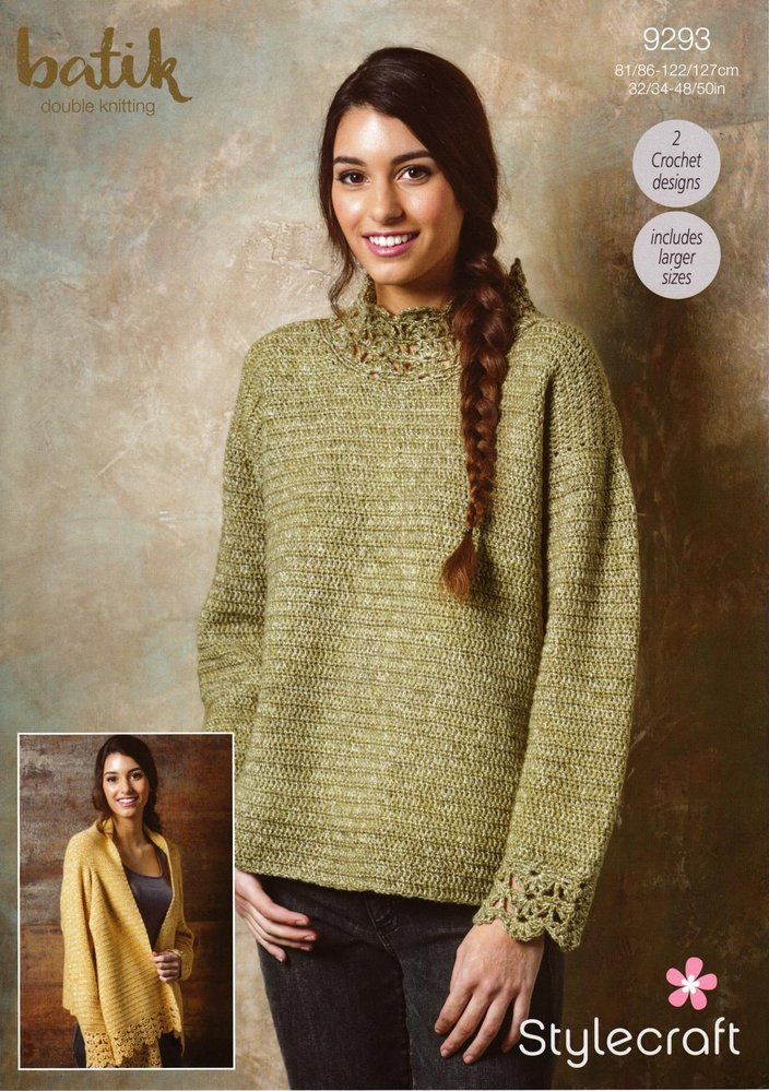 Stylecraft 9293 Crochet Pattern Womens Sweater and Waterfall Jacket ...