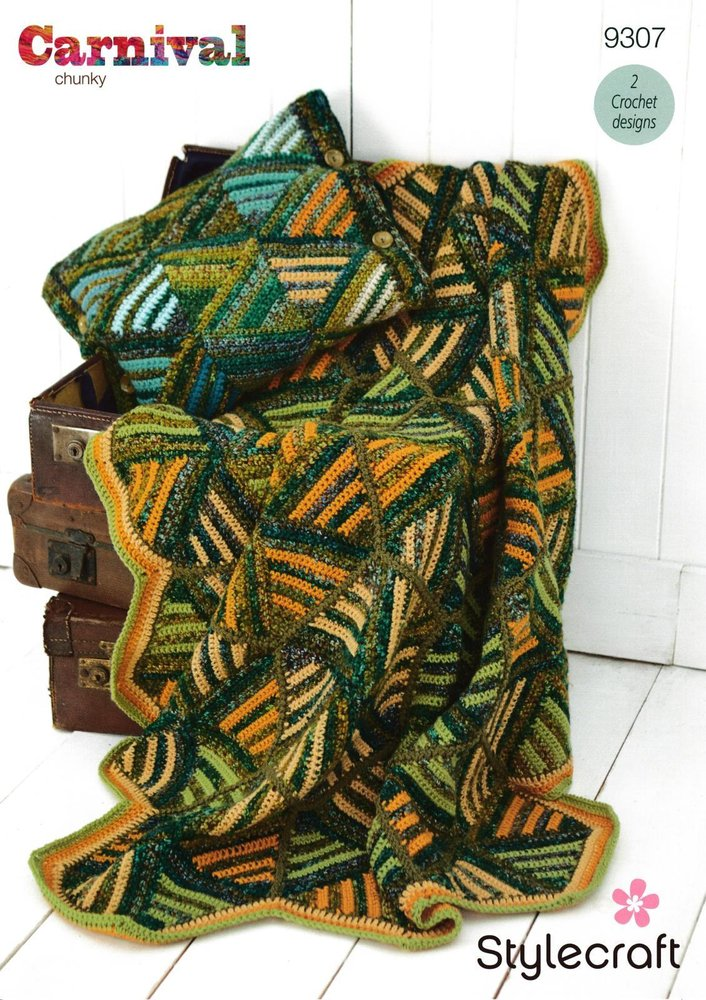 Stylecraft 9307 Crochet Pattern Triangle Hexagon Throw & Cushion in  Stylecraft Carnival Chunky