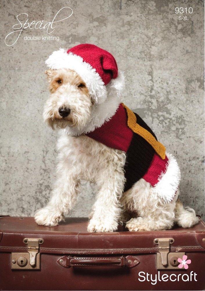 Stylecraft 9310 Knitting Pattern Santa Dog Coat And Hat In