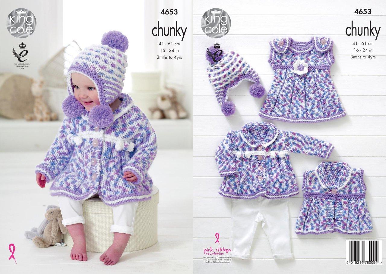 King Cole 4653 Knitting Pattern Baby Coat Dress Waistcoat Hat in ...