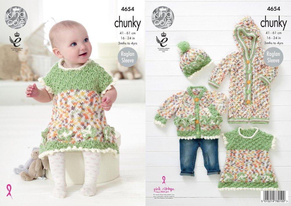 King Cole 4654 Knitting Pattern Baby Dress Cardigan Onesie Hat In