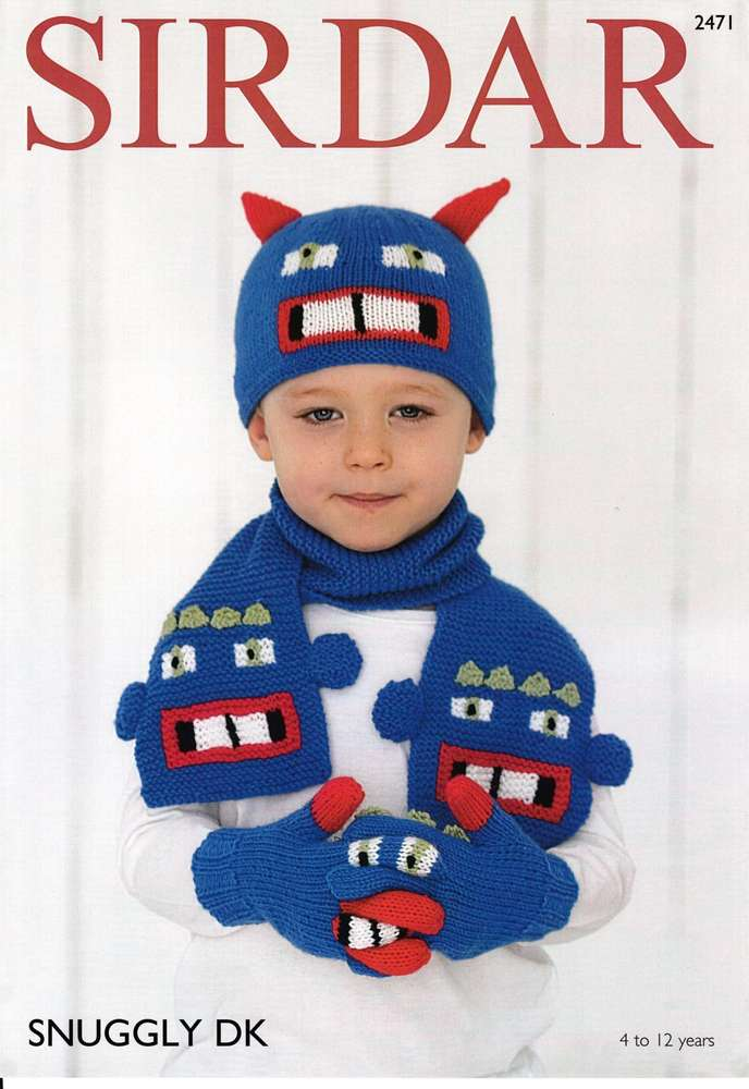 Sirdar 2471 Knitting Pattern Childrens Monster Hat Gloves And Scarf