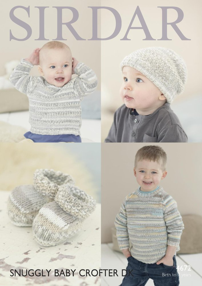 fad74a1fbdd8 Sirdar 4672 Knitting Pattern Baby Childrens Sweater Hat and Bootees ...