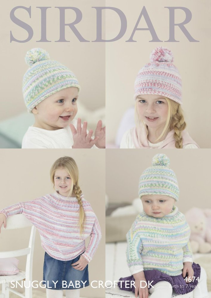 Sirdar 4674 Knitting Pattern Baby Childrens Poncho with Sleeves and ...