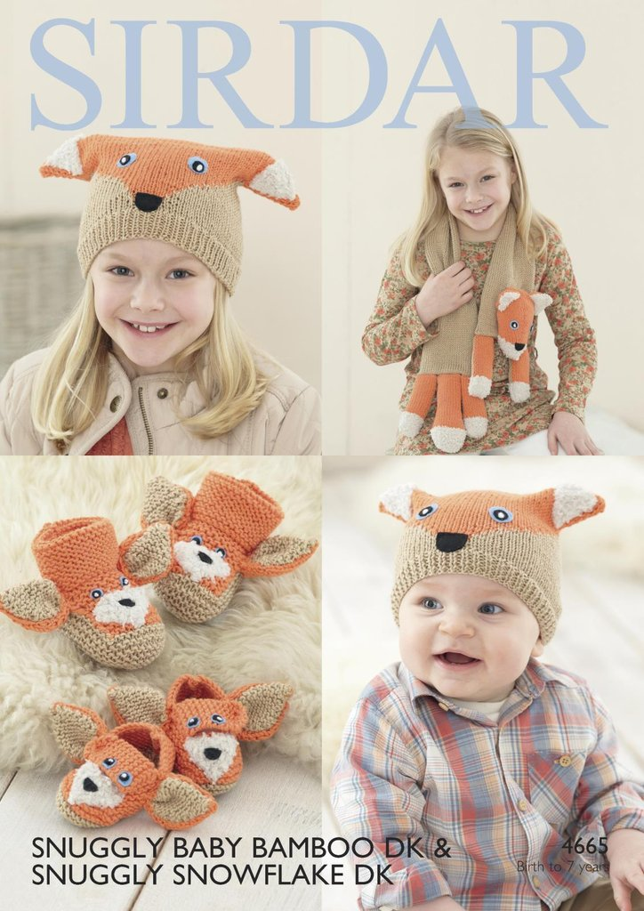 Sirdar 4665 Knitting Pattern Fox Scarf Hat Bootees & Shoes in Sirdar ...