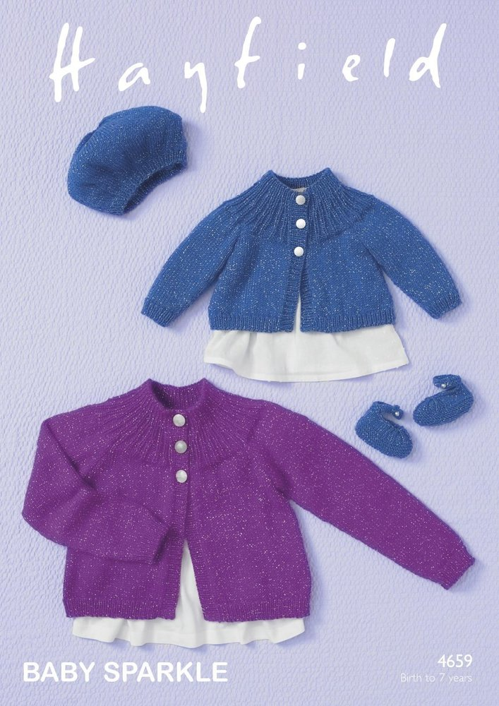 5f6da111f73f Sirdar 4659 Knitting Pattern Baby Girls Cardigan Beret   Shoes in Hayfield  Baby Sparkle DK