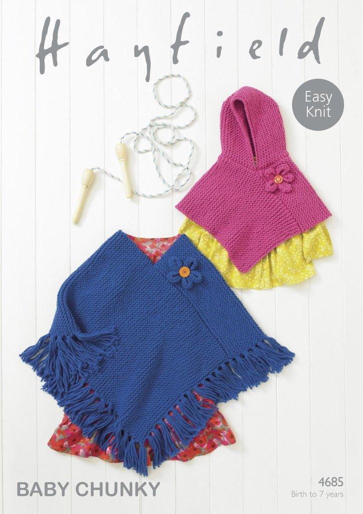 Sirdar 4685 Knitting Pattern Baby Girls Easy Knit Ponchos ...