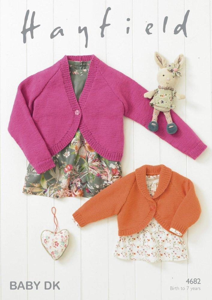 Sirdar 4682 Knitting Pattern Baby Girls Boleros In Hayfield Baby Dk