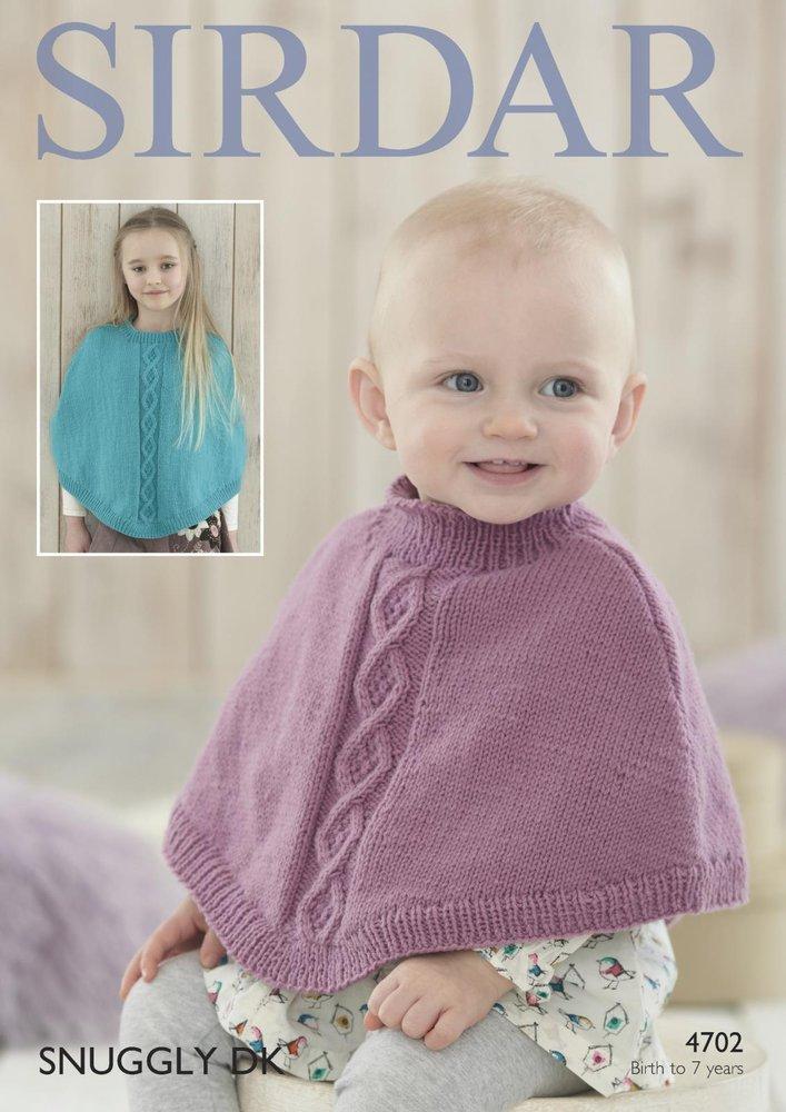 4f09fe294 Sirdar 4702 Knitting Patttern Baby Girls Ponchos in Sirdar Snuggly ...