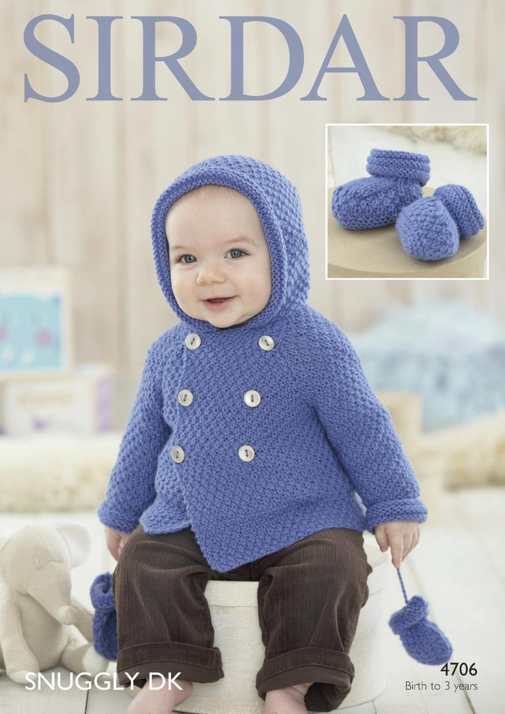 Sirdar 4706 Knitting Pattern Baby Boy\'s Coat, Mittens and Bootees in ...