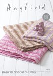 Sirdar 4676 Knitting Pattern Easy Knit Baby Blankets in Hayfield Baby Blossom Chunky