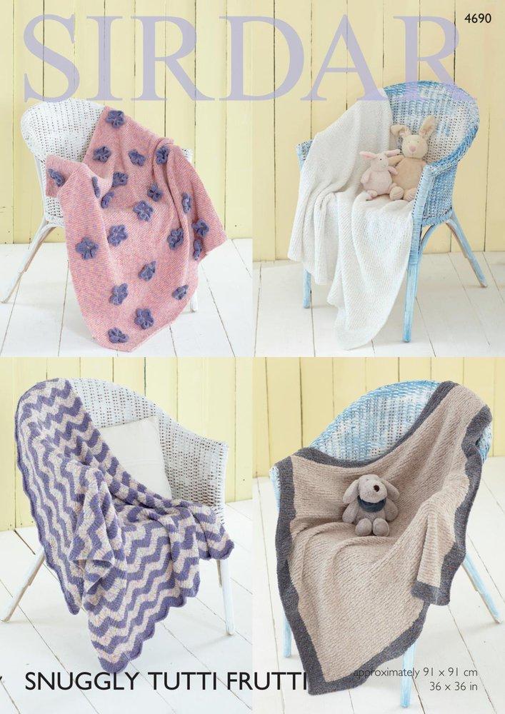 30a8e66ab Sirdar 4690 Knitting Pattern Blankets in Sirdar Snuggly Tutti Frutti ...