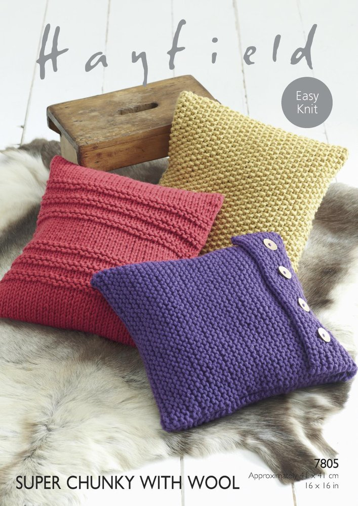 Sirdar 7805 Knitting Pattern Easy Knit Cushion Covers In Hayfield