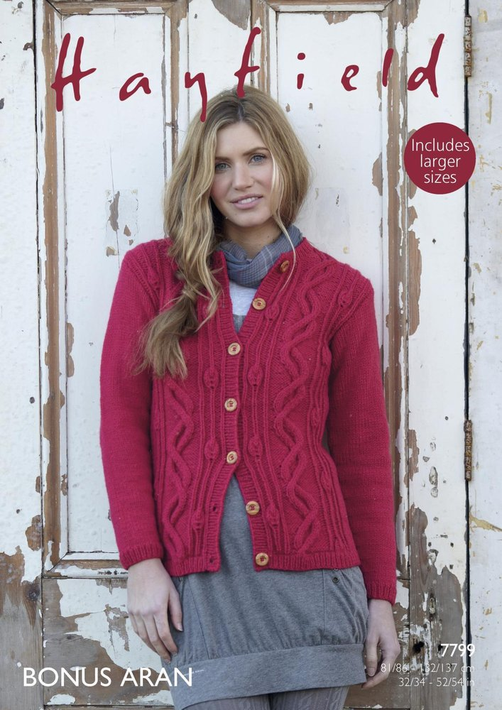 2364905aec559f Sirdar 7799 Knitting Pattern Womens Cabled Cardigan in Hayfield Bonus Aran