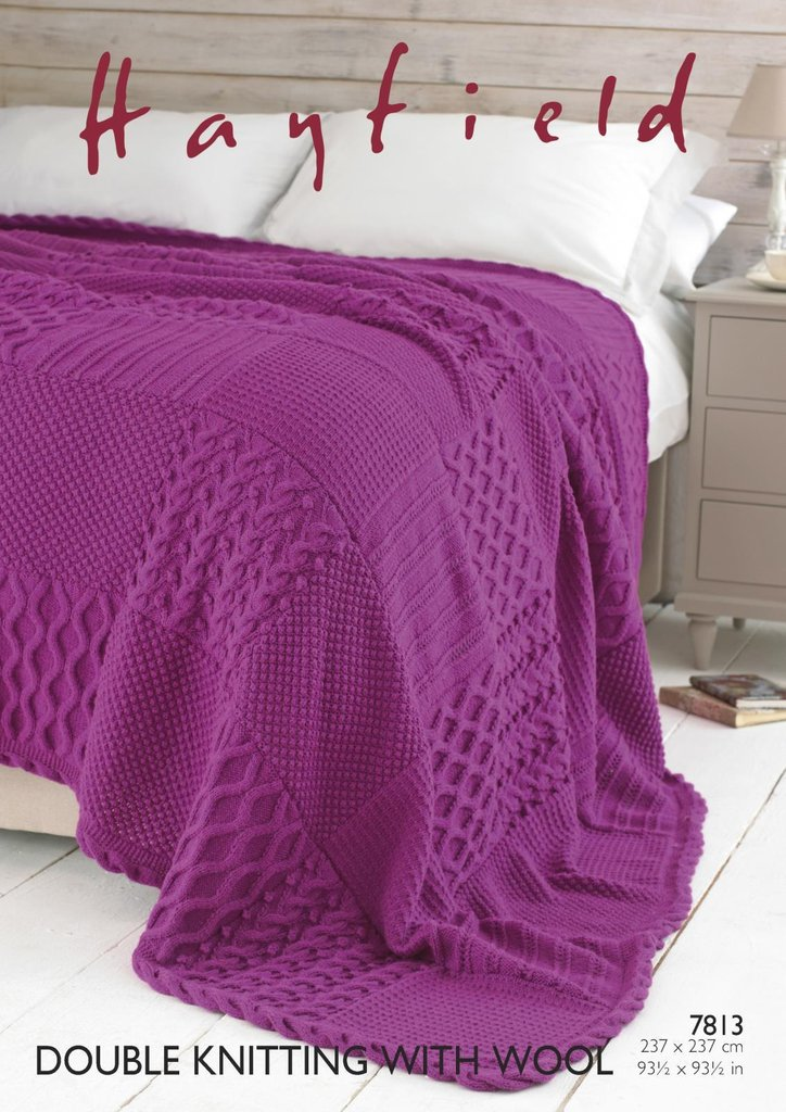 Sirdar 7813 Knitting Pattern Patterned Bed Throw in ...