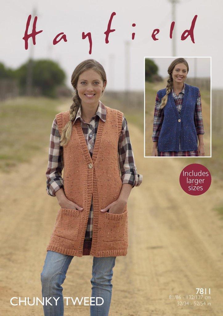 Sirdar 7811 Knitting Pattern Womens Waistcoats in Hayfield Chunky ...