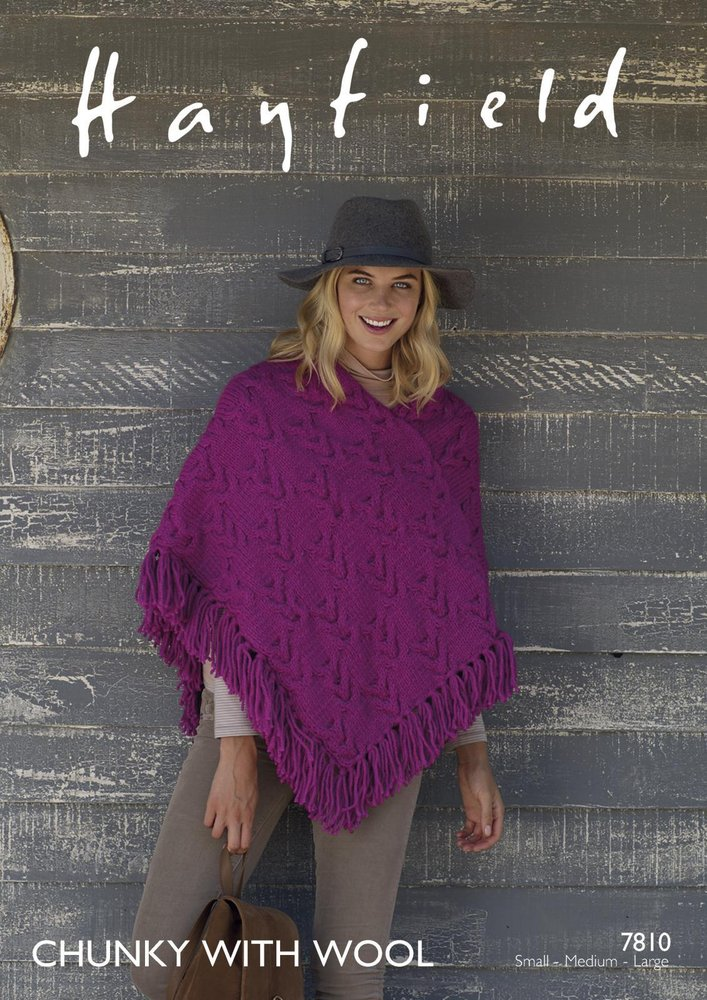 Sirdar 7810 Knitting Pattern Womens Poncho In Hayfield Chunky With