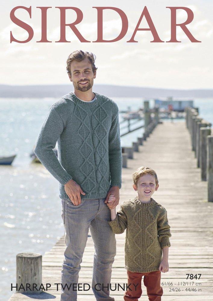 7055a31b1 Sirdar 7847 Knitting Pattern Mens Boys Sweaters in Sirdar Harrap Tweed  Chunky - Athenbys