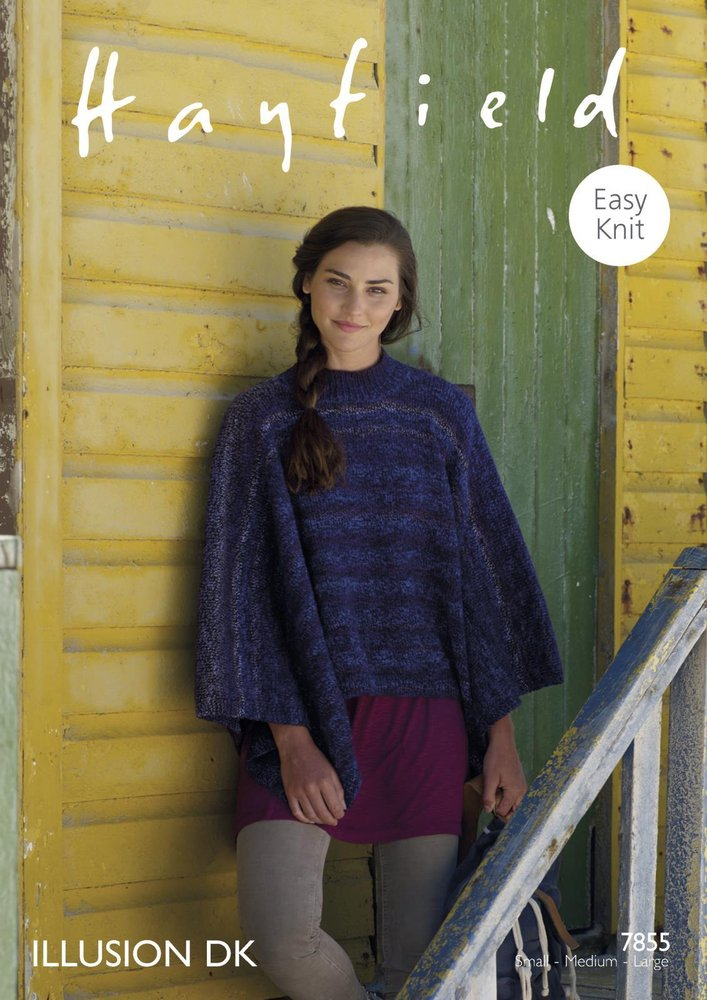 Sirdar 7855 Knitting Pattern Womens Easy Knit Poncho In Hayfield