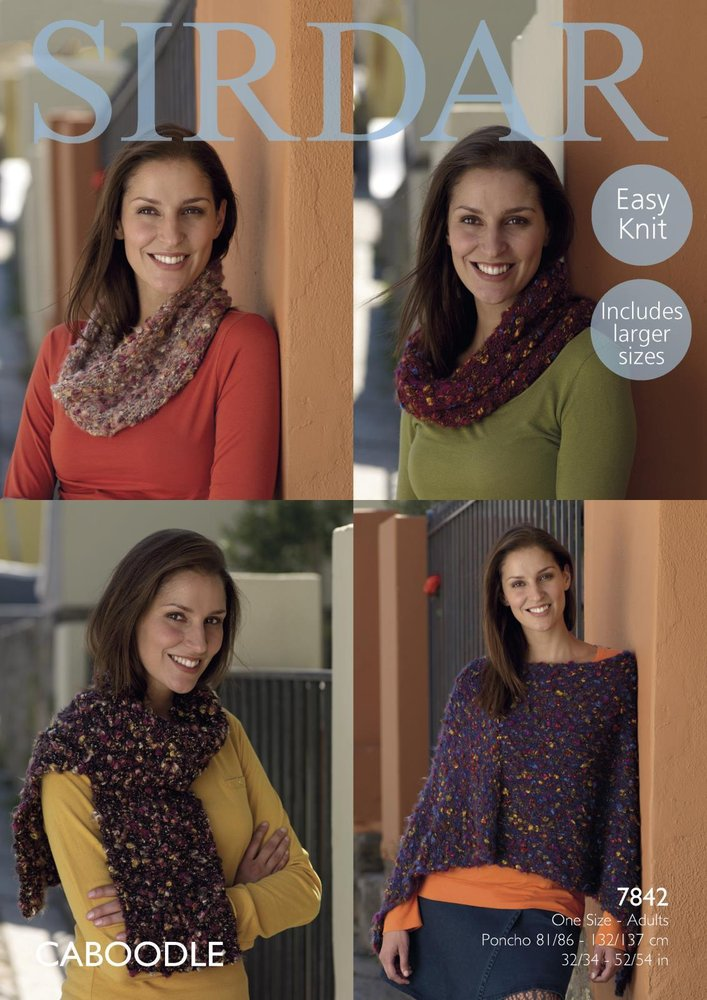 Sirdar 7842 Knitting Pattern Womens Easy Knit Poncho Snoods And