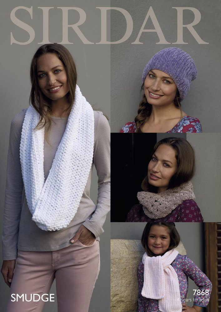 Sirdar 7868 Knitting Pattern Womens Girls Hat Scarf And Snoods In