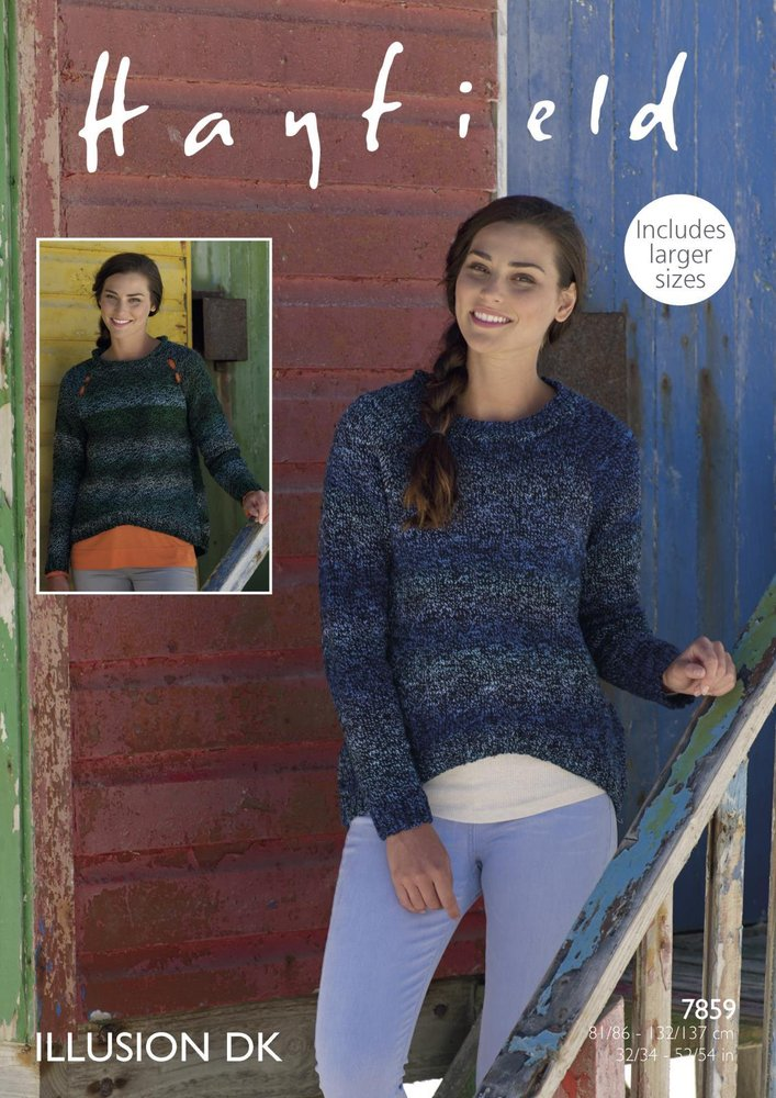 59ae1e64b4d4 Sirdar 7859 Knitting Pattern Womens Round and Roll Neck Sweaters in  Hayfield Illusion DK - Athenbys