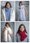 King Cole 4595 Knitting Pattern Womens Girls Shawls and Scarves in King Cole Embrace DK