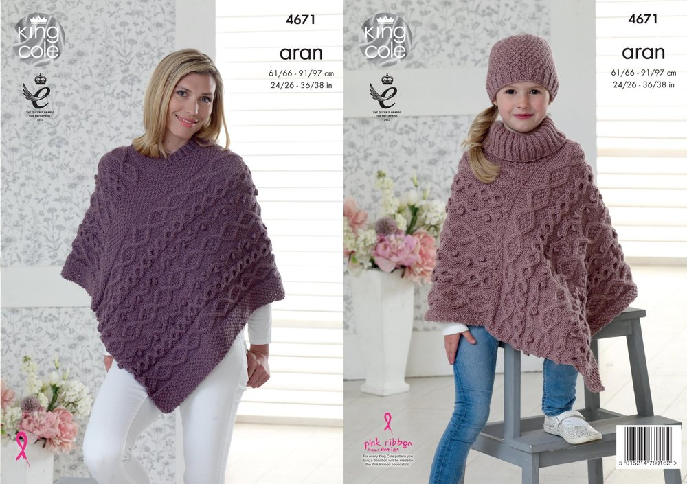 8ab61bead31 King Cole 4671 Knitting Pattern Womens Girls Ponchos and Hat in King Cole  Fashion Aran - Athenbys