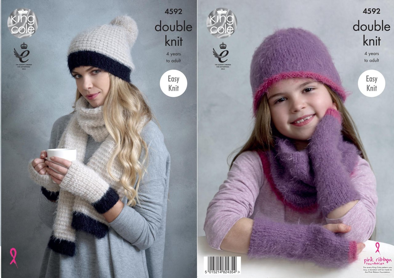 King Cole 4592 Knitting Pattern Womens Girls Easy Knit Hats Snood ...