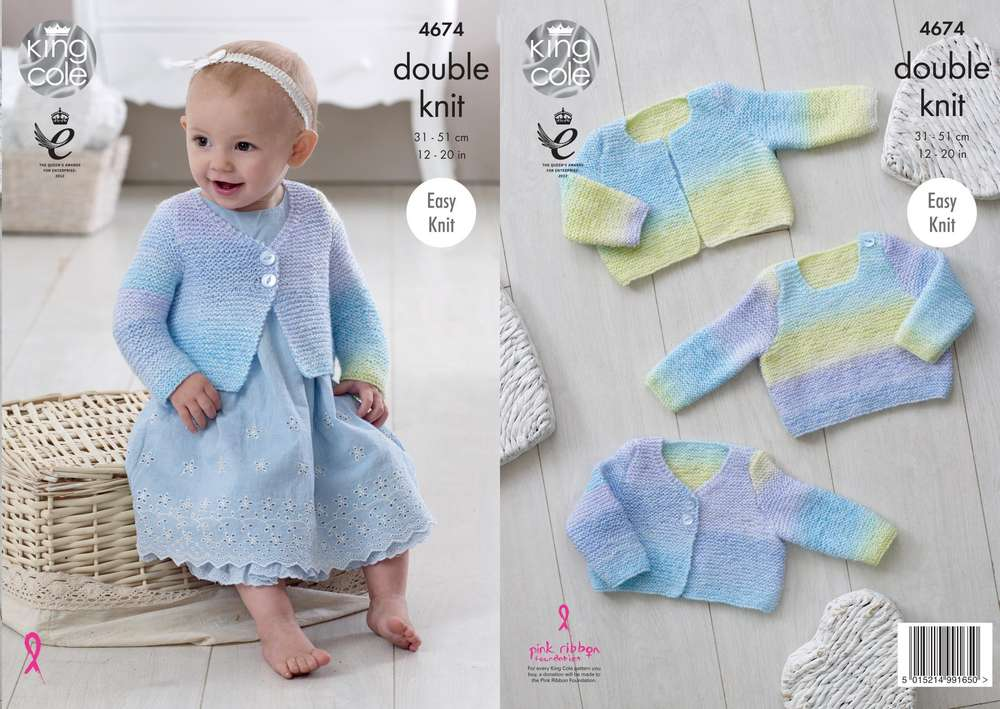 King Cole 4674 Knitting Patttern Easy Knit Baby Cardigans And