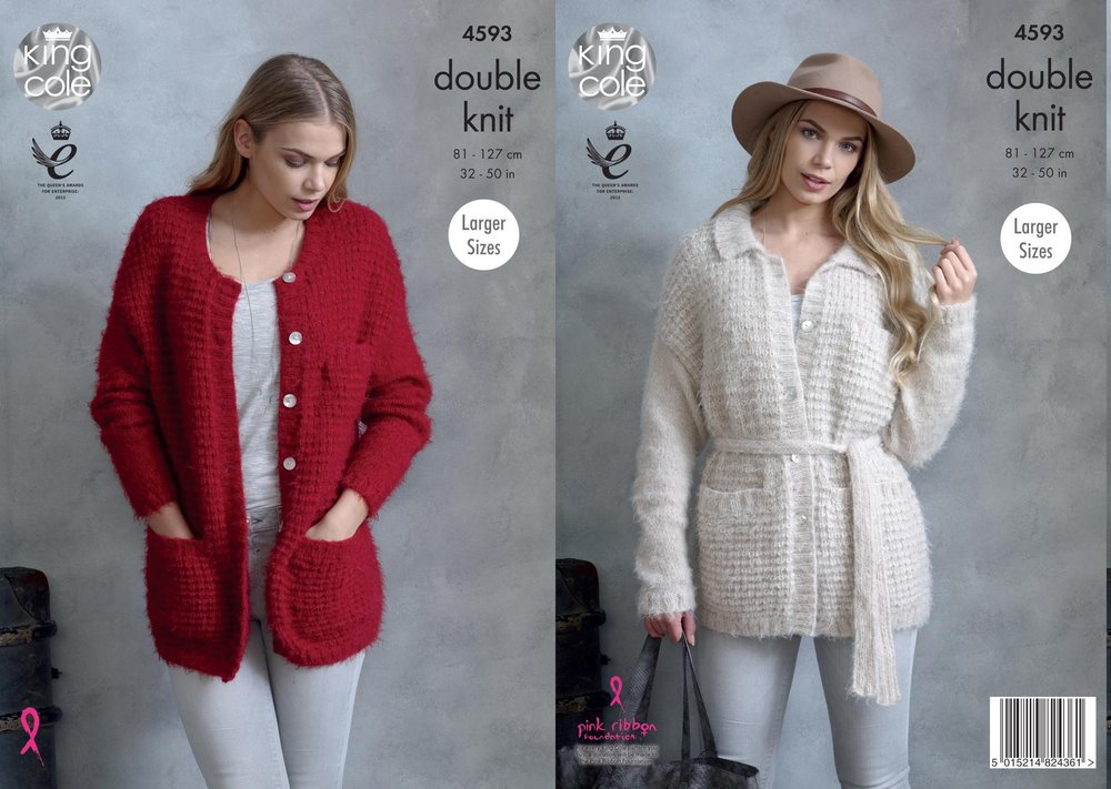 King Cole 4593 Knitting Pattern Womens Jackets in King Cole Embrace ...
