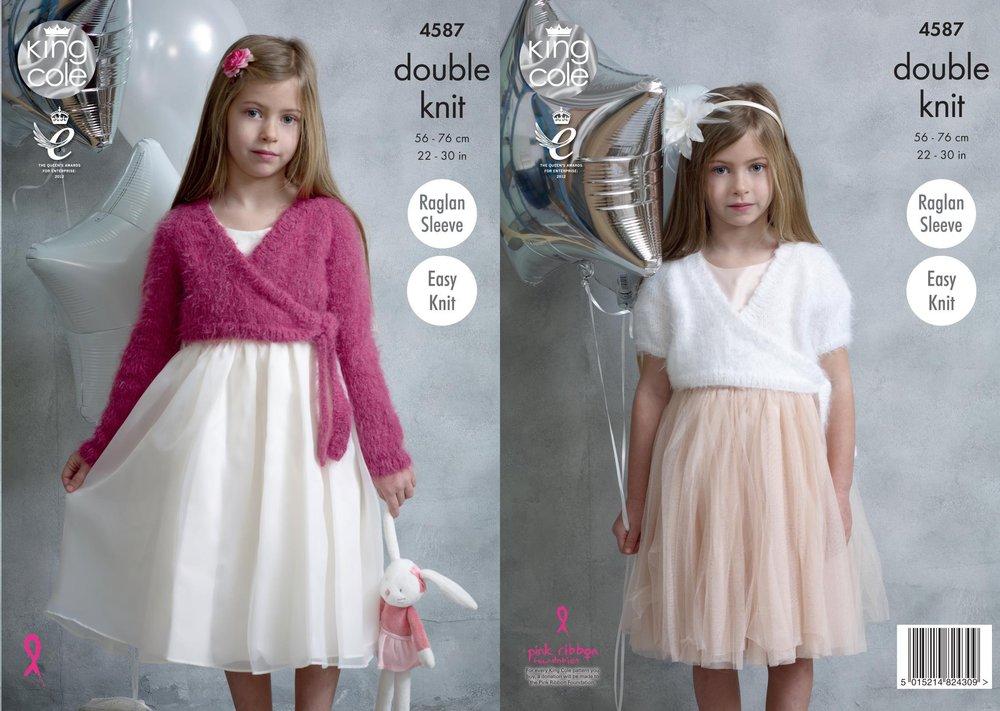 King Cole 4587 Knitting Pattern Girls Easy Knit Ballet Tops