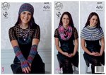 King Cole 4639 Knitting Pattern Womens Scarf Hat Gloves & Neck Warmer in King Cole Party Glitz 4 Ply