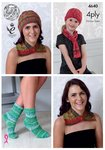 King Cole 4640 Knitting Pattern Womens Girls Neck Wrap Hat Scarf & Socks in Party Glitz 4 Ply