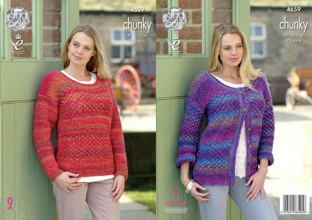 4d99c3292495 King Cole 4659 Knitting Pattern Womens Cardigan and Sweater in Corona Chunky  - Athenbys