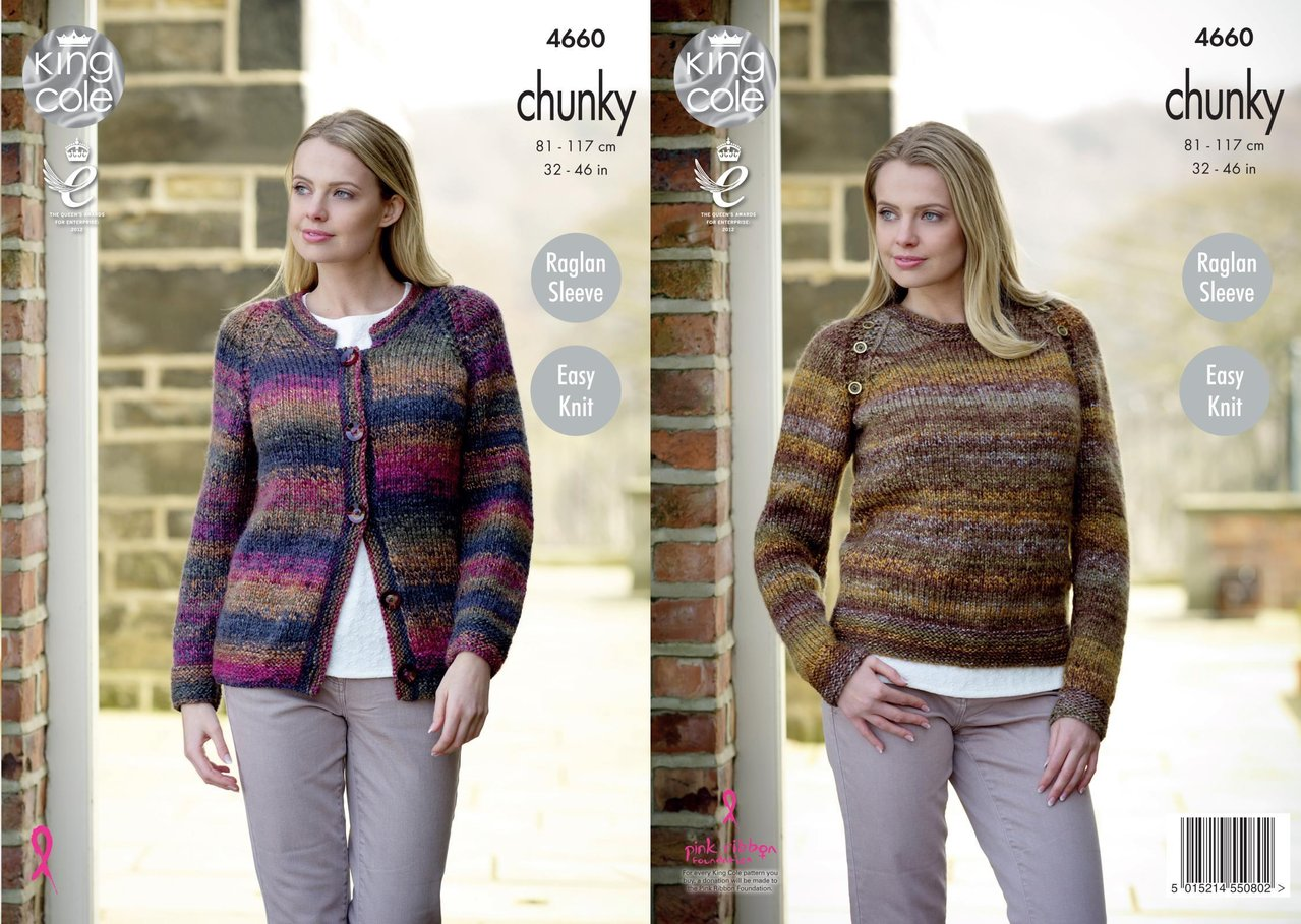 Easy Knit Sweater /& Cardigan King Cole  Chunky  Knitting Pattern 4660