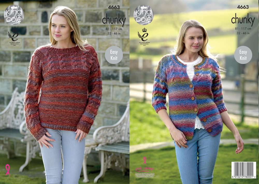 King Cole 4663 Knitting Pattern Womens Easy Knit Sweater And