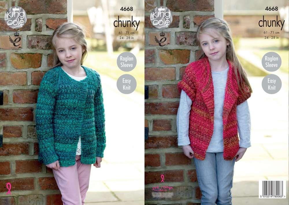 378f0d36dc3d King Cole 4668 Knitting Pattern Girls Easy Knit Raglan Sleeve Cardigan in Corona  Chunky - Athenbys