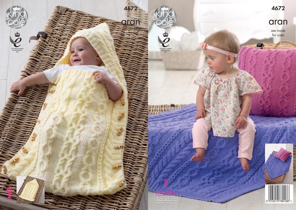 King Cole 4672 Knitting Pattern Baby Sleeping Bag Cushion Blanket